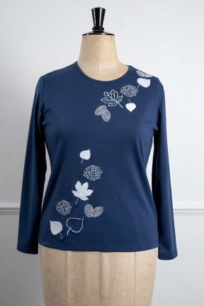 Poppy Autumn Leaves Embroidered Top