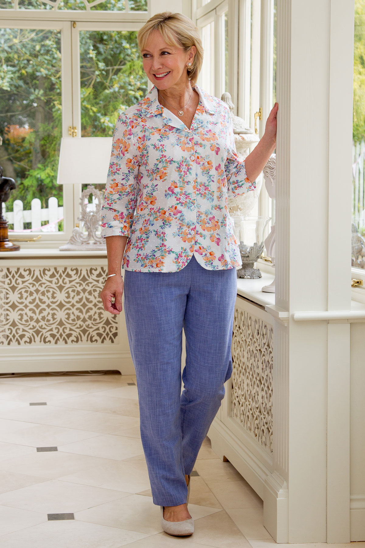 Corsage Floral Blouse & Fresco Trousers