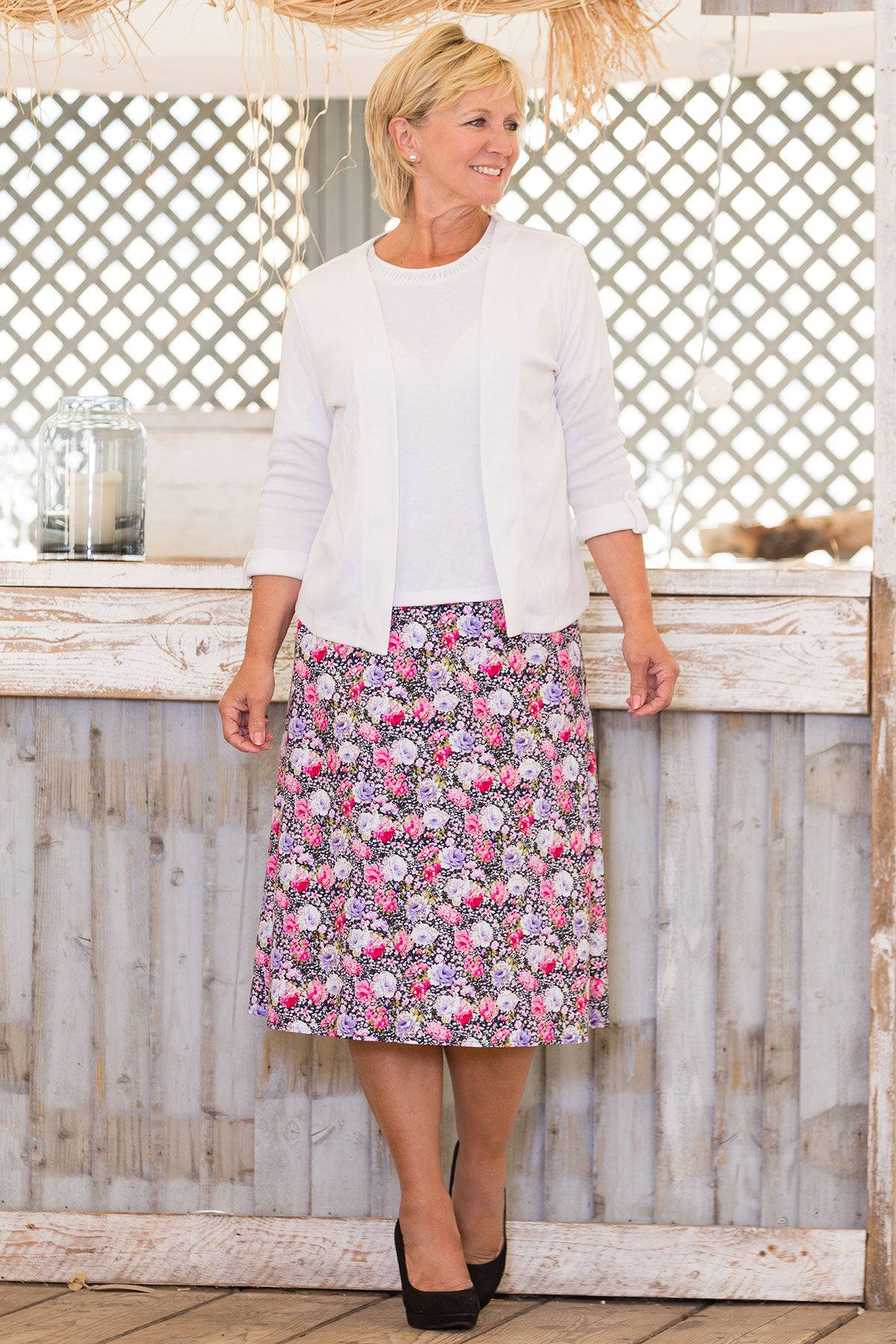 Ruched Neck T-Shirt, Edge To Edge Jersey Jacket & Pastel Rose Skirt