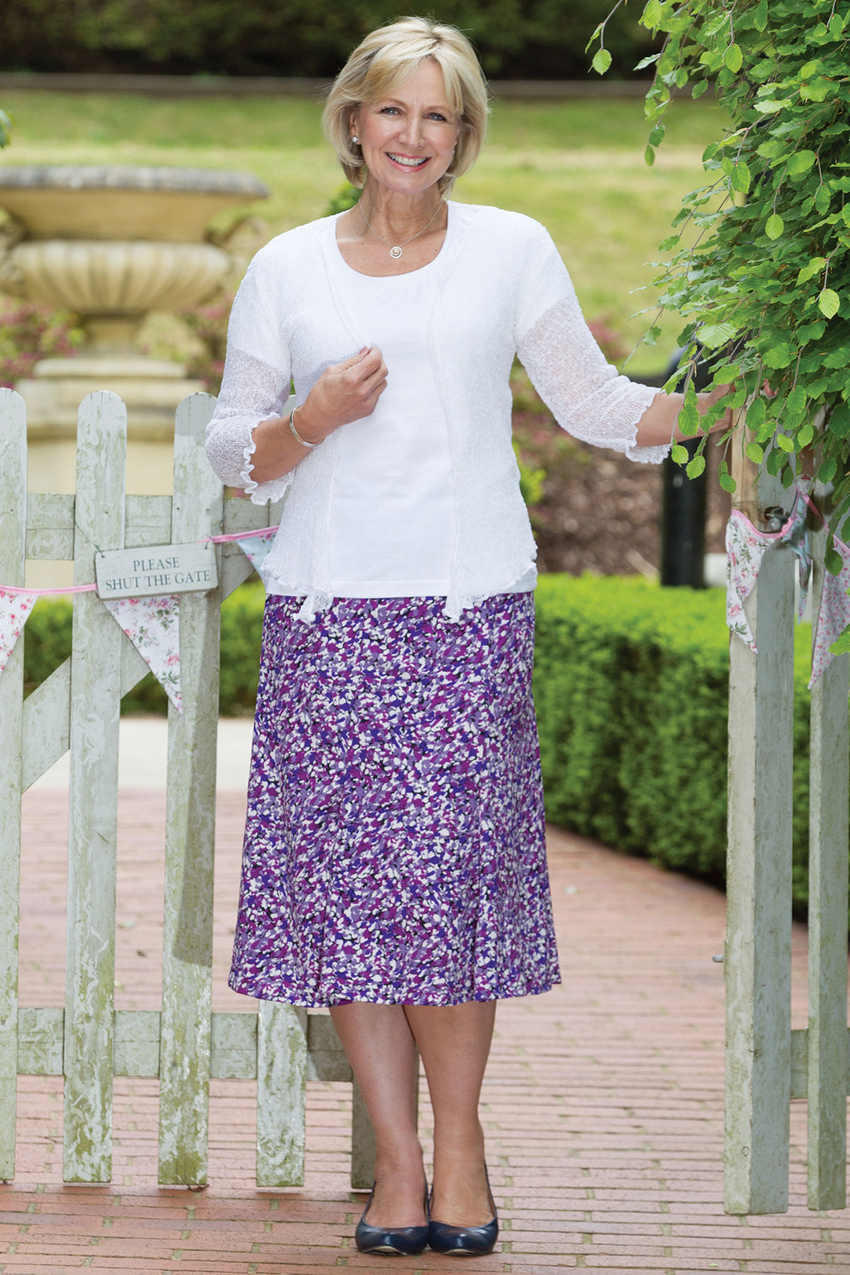 Riverhill T-Shirt, Bella Shrug & Monet Pastel Skirt