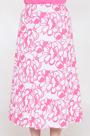 Abstract Flower Print Skirt
