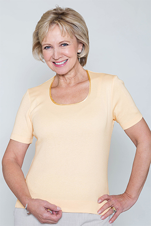 Satin Trim Scoop Neck Top